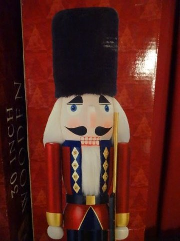 PAIR LARGE CHRISTMAS WOODEN NUTCRACKERS, ONE IN BLUE - 8