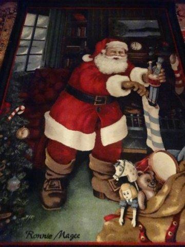 SANTA CHRISTMAS RUG BY RONNIE MAGEE, SANTA FILLING