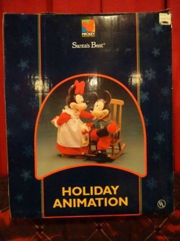 LARGE ANIMATED CHRISTMAS MICKEY MOUSE AND MINNIE MOUSE