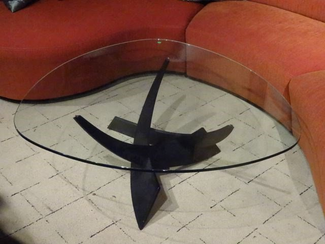 MODERN METAL AND GLASS COFFEE TABLE, CURVED TRIANGULAR - 2