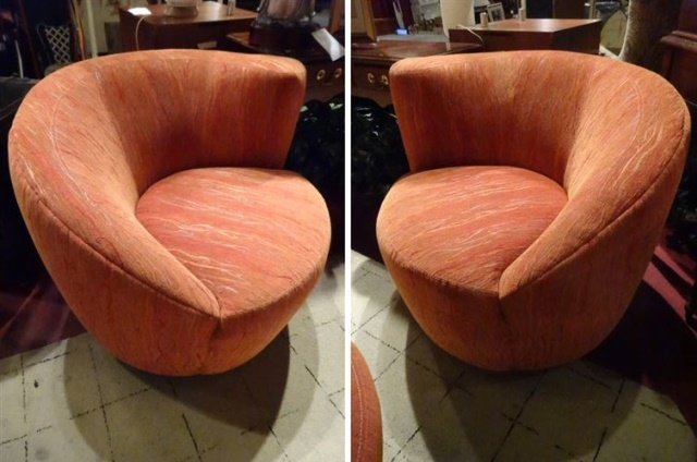 PAIR MEMORY SWIVEL ARMCHAIRS, ASYMETRICAL CURVED BACKS,