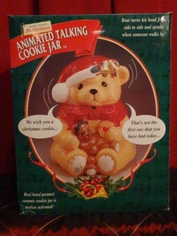 LARGE ANIMATED CHRISTMAS BEAR COOKIE JAR, CERAMIC JAR