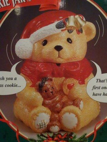 LARGE ANIMATED CHRISTMAS BEAR COOKIE JAR, CERAMIC JAR - 2