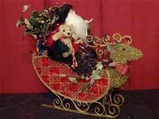 LARGE CHRISTMAS FIGURE, SANTA'S SLEIGH, METAL AND