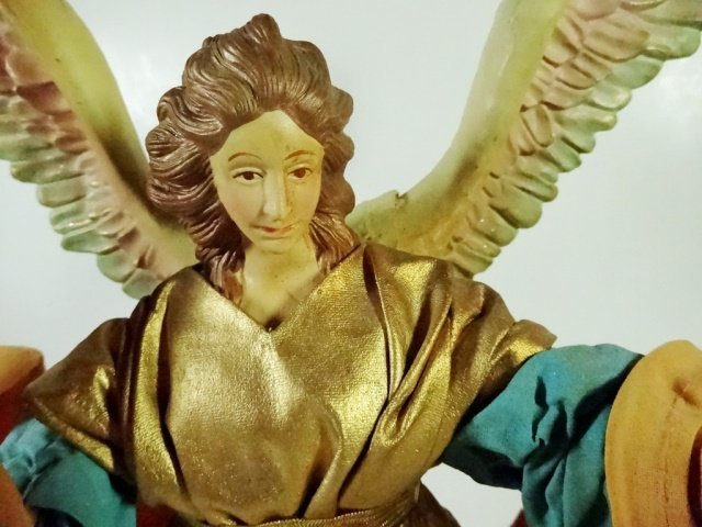 CHRISTMAS DECOR - ANGEL ON STAND / TREE TOPPER, TEAL - 2