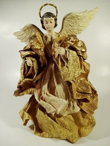 CHRISTMAS DECOR - ANGEL ON STAND / TREE TOPPER, OFF