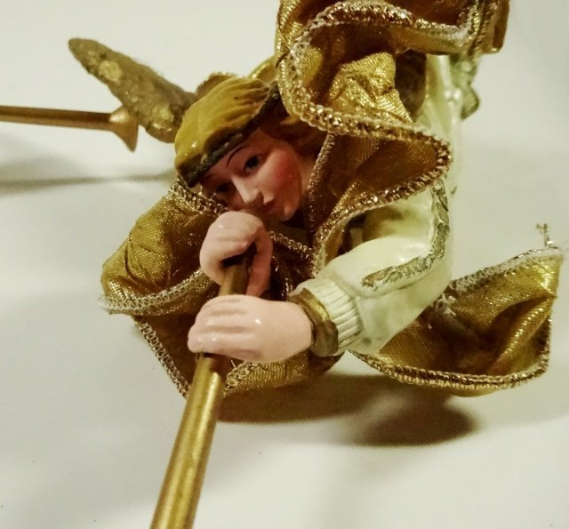 2 PC CHRISTMAS DECOR, ORNAMENT GOLD ANGELS WITH - 2