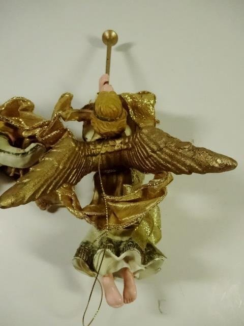 2 PC CHRISTMAS DECOR, ORNAMENT GOLD ANGELS WITH - 4