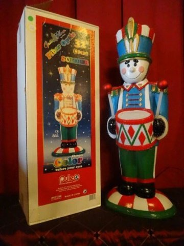LARGE FIBER OPTIC CHRISTMAS NUTCRACKER, COLORED MOULDED