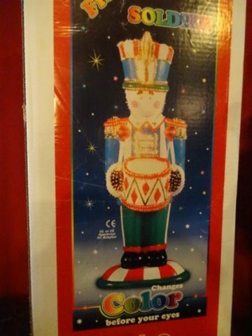 LARGE FIBER OPTIC CHRISTMAS NUTCRACKER, COLORED MOULDED - 4