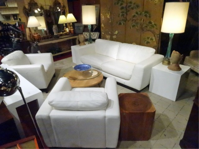 MODERN DESIGN WHITE LEATHER SOFA, HIGH QUALITY LEATHER, - 2
