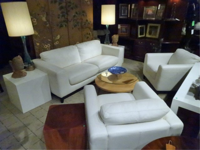 MODERN DESIGN WHITE LEATHER SOFA, HIGH QUALITY LEATHER, - 6