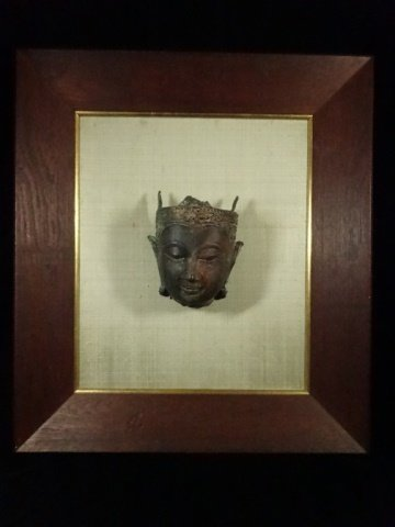 BRONZE THAI BUDDHA HEAD SCULPTURE, MOUNTED IN FRAME,