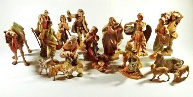 21 PC CHRISTMAS DECOR - ITALIAN NATIVITY FIGURINES,