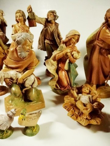 21 PC CHRISTMAS DECOR - ITALIAN NATIVITY FIGURINES, - 6