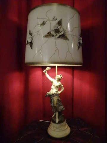 FRENCH AFTER AUGUSTE MOREAU FIGURAL LAMP, PAINTED