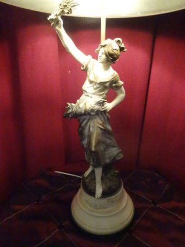 FRENCH AFTER AUGUSTE MOREAU FIGURAL LAMP, PAINTED - 2