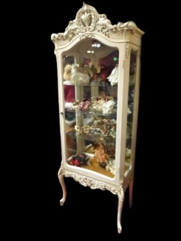 LOUIS XV STYLE ROCOCO VITRINE, CARVED WOOD WITH