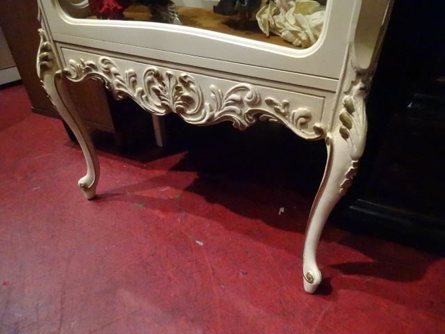 LOUIS XV STYLE ROCOCO VITRINE, CARVED WOOD WITH - 2