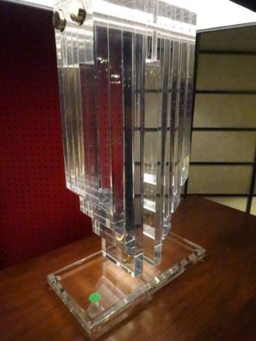 LARGE LUCITE AND BRASS LAMP, THICK LUCITE PANELS IN V - 4
