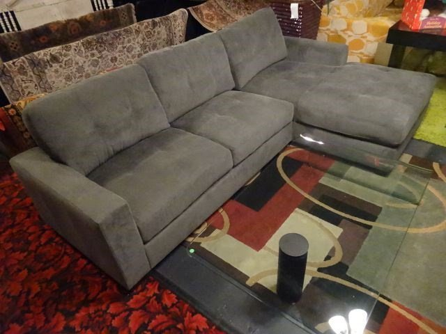 NEW MODERN 2 PC SECTIONAL SOFA, RIGHT HAND CHAISE, GRAY