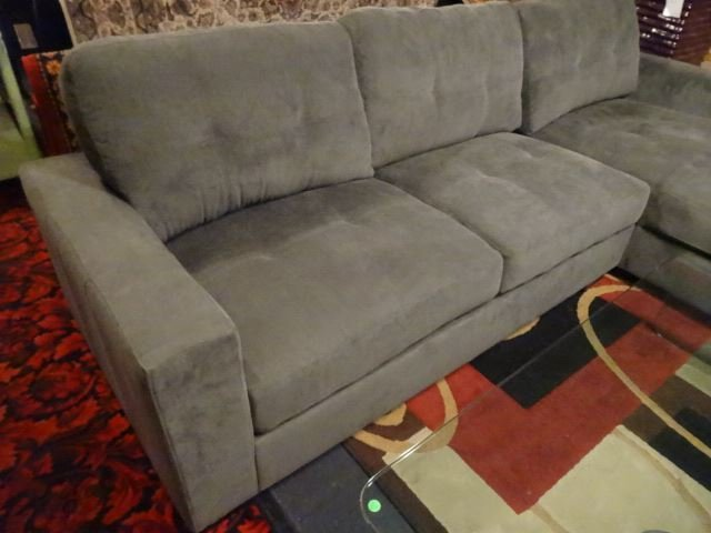 NEW MODERN 2 PC SECTIONAL SOFA, RIGHT HAND CHAISE, GRAY - 2