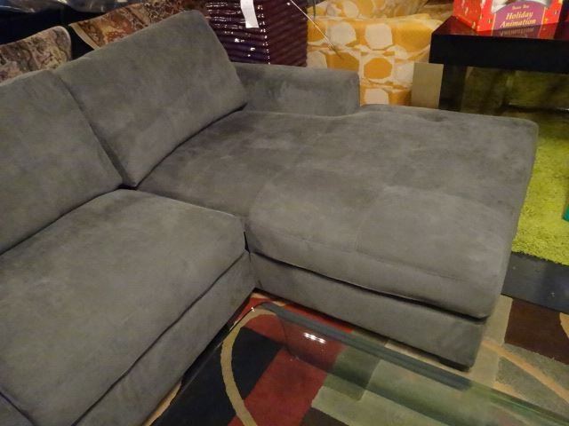 NEW MODERN 2 PC SECTIONAL SOFA, RIGHT HAND CHAISE, GRAY - 3