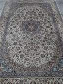 LARGE PERSIAN STYLE WOOL RUG, CREAM FIELD WITH BLUE AND