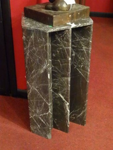 MODERN GRAY MARBLE PEDESTAL OR TABLE BASE, VERY GOOD - 4