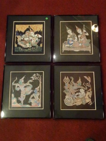 4 THAI FIGURAL PRINTS, MATTED AND FRAMED, EXCELLENT