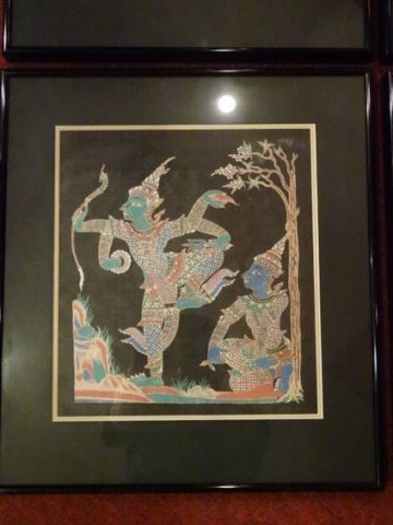 4 THAI FIGURAL PRINTS, MATTED AND FRAMED, EXCELLENT - 2