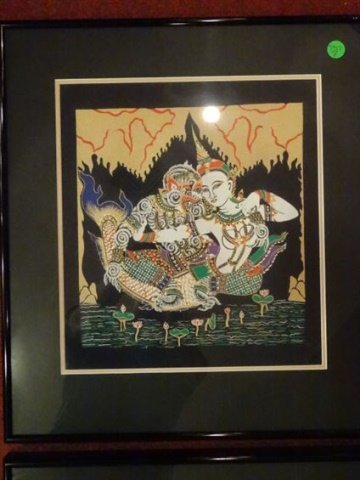 4 THAI FIGURAL PRINTS, MATTED AND FRAMED, EXCELLENT - 3