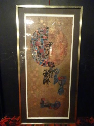LARGE ASIAN LITHOGRAPH, STYLIZED FIGURAL SCENE,
