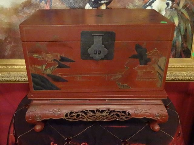 LARGE CHINESE PAINTED WOOD BOX ON STAND, RED WITH