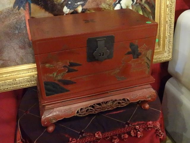 LARGE CHINESE PAINTED WOOD BOX ON STAND, RED WITH - 2