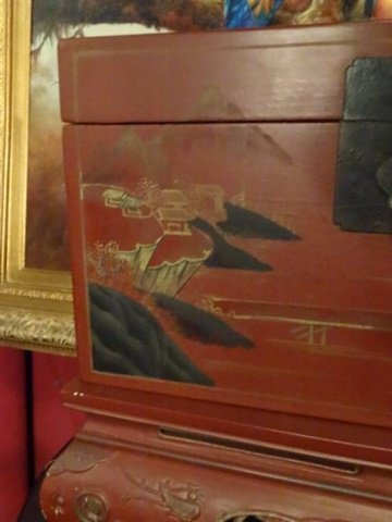 LARGE CHINESE PAINTED WOOD BOX ON STAND, RED WITH - 3