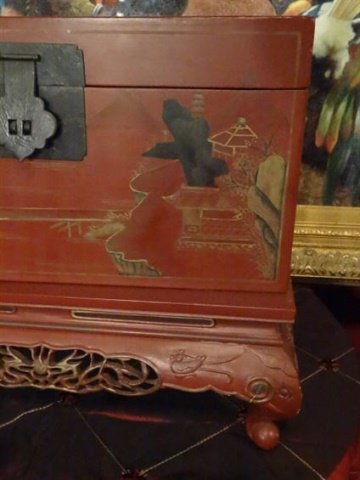LARGE CHINESE PAINTED WOOD BOX ON STAND, RED WITH - 4