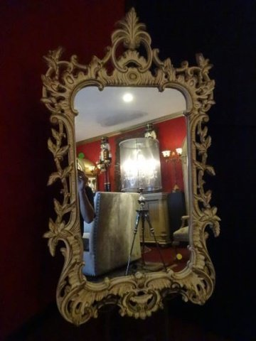 MID CENTURY ROCOCO STYLE MIRROR, ANTIQUED WHITE PAINTED