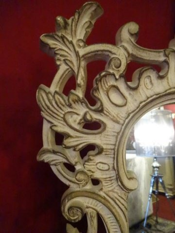 MID CENTURY ROCOCO STYLE MIRROR, ANTIQUED WHITE PAINTED - 3