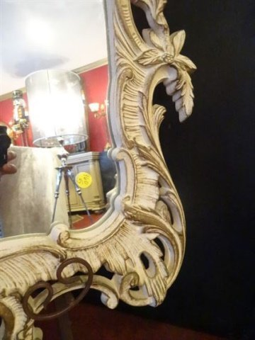 MID CENTURY ROCOCO STYLE MIRROR, ANTIQUED WHITE PAINTED - 4