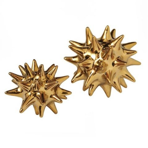 9 PC GOLD FINISH METAL URCHIN ORNAMENTS BY DWELL