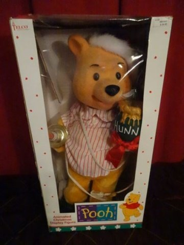 ANIMATED CHRISTMAS WINNIE THE POOH FIGURE, IN ORIGINAL