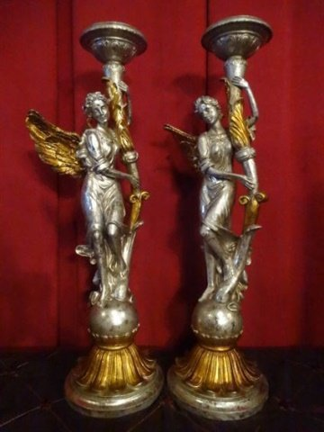 PAIR ANGEL CANDLE HOLDERS, SILVER AND GOLD FINISH - 2