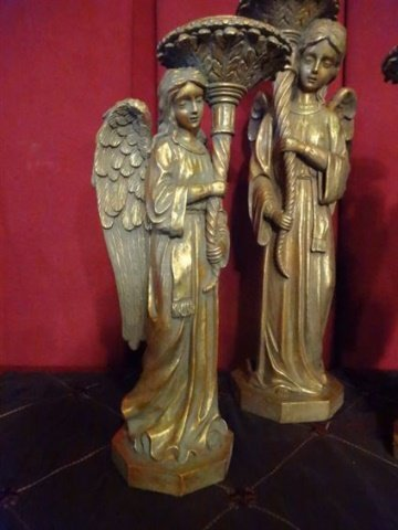 "3 PC ANGEL CANDLE HOLDERS, GOLD FINISH COMPOSITE, 19""H - 2"