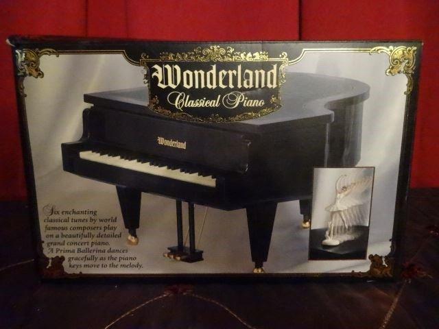 "MUSIC BOX PIANO AND DANCER, IN ORIGINAL BOX, 9"" X 10"" X"