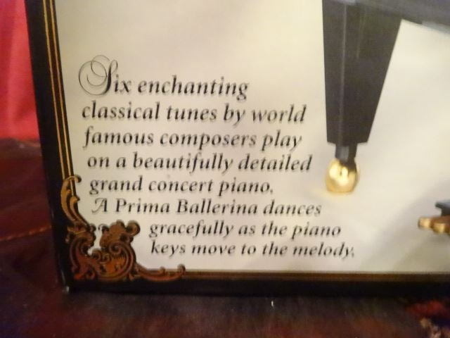 "MUSIC BOX PIANO AND DANCER, IN ORIGINAL BOX, 9"" X 10"" X - 3"