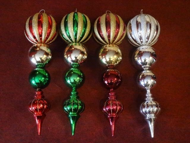 "4 LARGE CHRISTMAS ORNAMENTS, 28""H, SKU950.44 BX085"