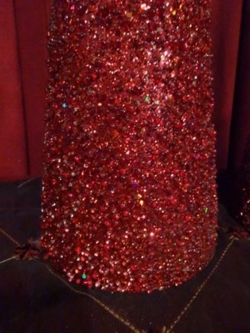 "PAIR LARGE CHRISTMAS CONES, RED WITH GLITTER, 24""H X - 2"