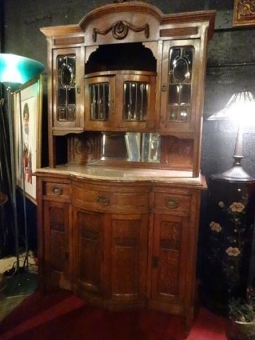 ANTIQUE MARBLE TOP SIDEBOARD WITH HUTCH TOP CABINET,