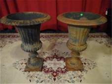 PAIR CAST IRON URNS, GOOD VINTAGE CONDITION WITH SOME